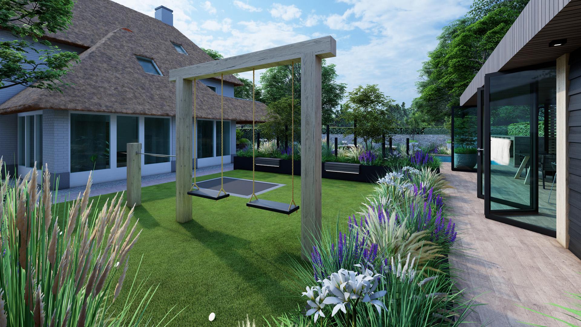 Bureau Hamers - Tuinontwerp en landschapsontwerpontwerp - Exclusieve wellnesstuin in Waalwijk - Overdag
