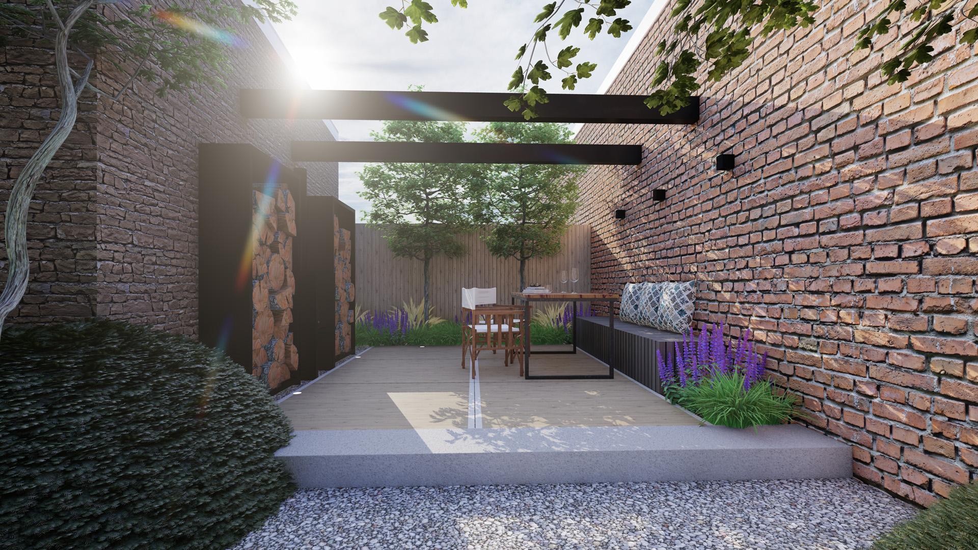 Bureau Hamers - Tuinontwerp en landschapsontwerpontwerp - Karaktervolle patiotuin Kaatsheuvel - Overdag
